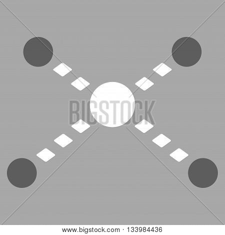 Dotted Links vector toolbar icon. Style is bicolor flat icon symbol, dark gray and white colors, silver background, rhombus dots.