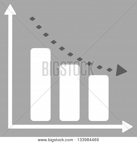 Dotted Negative Trend vector toolbar icon. Style is bicolor flat icon symbol, dark gray and white colors, silver background, rhombus dots.