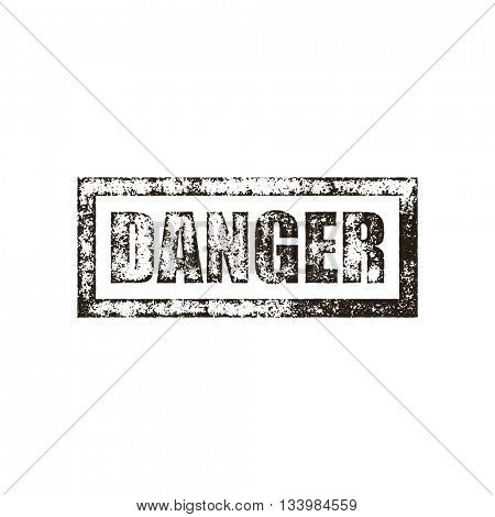 Danger stamp of black grunge square vintage rubber print. Warning black stamp. Caution ink vector imprint.