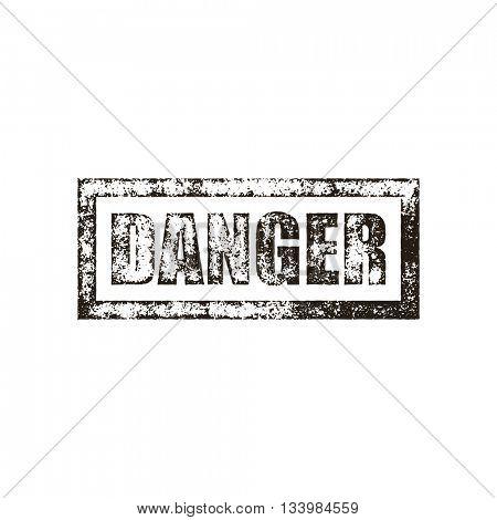 Danger stamp of black grunge square vintage rubber print. Warning black stamp. Caution ink vector imprint.