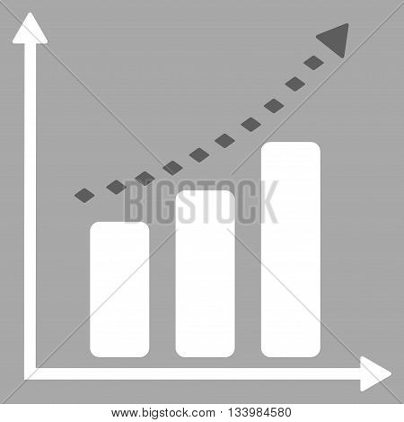 Dotted Positive Trend vector toolbar icon. Style is bicolor flat icon symbol, dark gray and white colors, silver background, rhombus dots.