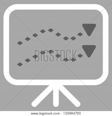 Dotted Trends Board vector toolbar icon. Style is bicolor flat icon symbol, dark gray and white colors, silver background, rhombus dots.