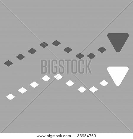 Dotted Trends vector toolbar icon. Style is bicolor flat icon symbol, dark gray and white colors, silver background, rhombus dots.