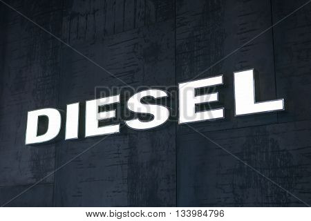 BANGKOK, THAILAND - JUNE 8, 2016 : Closeup of Diesel shop sign, world's famous clothing brand in Siam discovery, famous shopping mall in Bangkok, Thailand