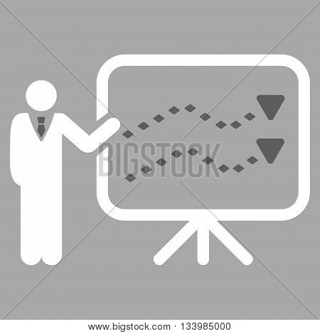Trends Presentation vector toolbar icon. Style is bicolor flat icon symbol, dark gray and white colors, silver background, rhombus dots.