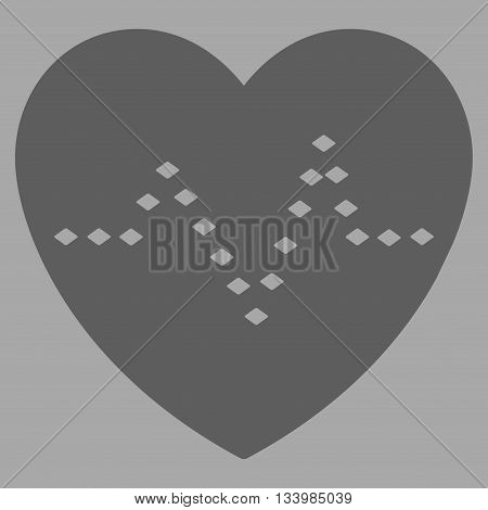 Dotted Heart Pulse vector toolbar icon. Style is flat icon symbol, dark gray color, silver background, rhombus dots.