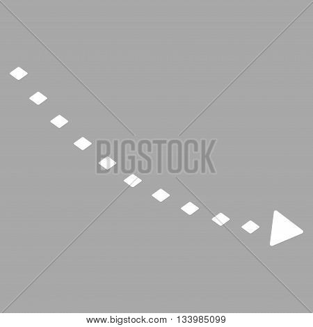 Dotted Decline Trend vector toolbar icon. Style is flat icon symbol, white color, silver background, rhombus dots.