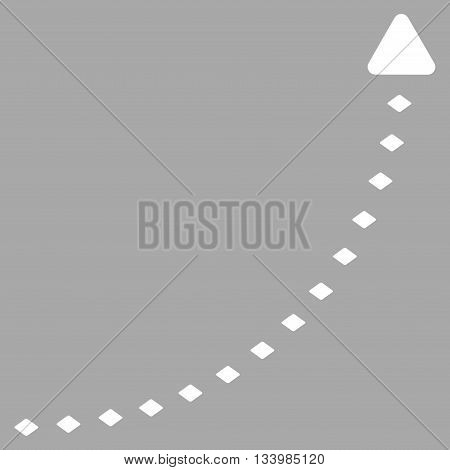 Dotted Growth Line vector toolbar icon. Style is flat icon symbol, white color, silver background, rhombus dots.