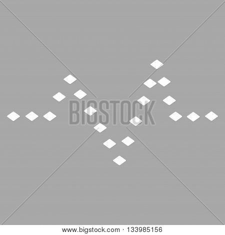 Dotted Pulse vector toolbar icon. Style is flat icon symbol, white color, silver background, rhombus dots.