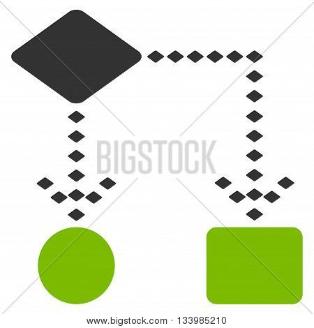Algorithm Scheme vector toolbar icon. Style is bicolor flat icon symbol, eco green and gray colors, white background, rhombus dots.