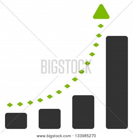 Bar Chart Positive Trend vector toolbar icon. Style is bicolor flat icon symbol, eco green and gray colors, white background, rhombus dots.