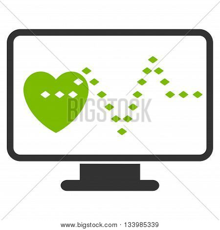 Cardio Monitoring vector toolbar icon. Style is bicolor flat icon symbol, eco green and gray colors, white background, rhombus dots.