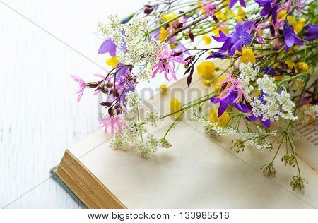 Old book with bouquet of meadow flowers, nostalgic vintage background