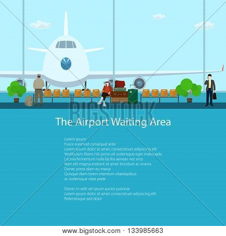 The Airport Waiting Area with People, View on Airplane through the Window from a Waiting Room, Travel and Tourism Concept ,Flat Design, Vector Illustration