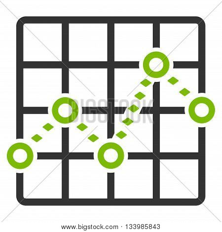 Dotted Line Grid Plot vector toolbar icon. Style is bicolor flat icon symbol, eco green and gray colors, white background, rhombus dots.
