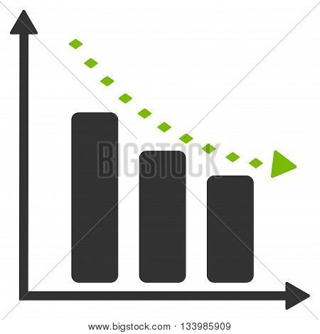 Dotted Negative Trend vector toolbar icon. Style is bicolor flat icon symbol, eco green and gray colors, white background, rhombus dots.