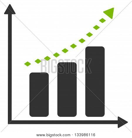 Dotted Positive Trend vector toolbar icon. Style is bicolor flat icon symbol, eco green and gray colors, white background, rhombus dots.