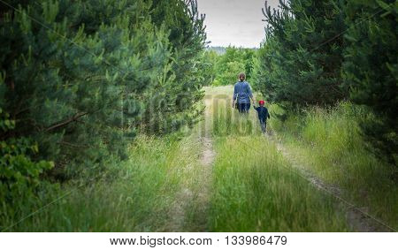 Mother And Child Walking In Forest