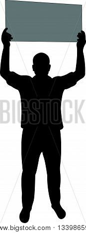 manifestation - a man protesting, silhouette vector