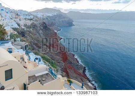 Traditional house on the island Santorini. Greece.