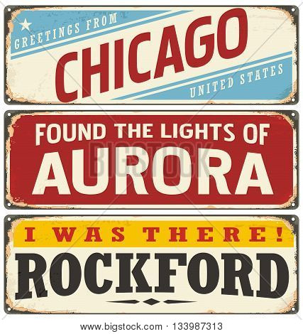 Retro tin sign collection with USA city names. Vintage vector souvenir sign or postcard templates. Travel theme. Places to visit and remember.