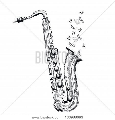 musical instrument saxophone on white background. Vector.