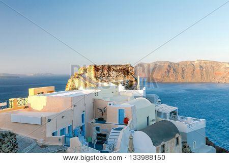 View of the sea and island Nea Kameni from Cape Byzantine. Village Oia. Santorini.