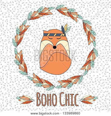 Boho fox and feather wreath in hand drawn style. Tribal ethnic boho chic inspirational vector illustration