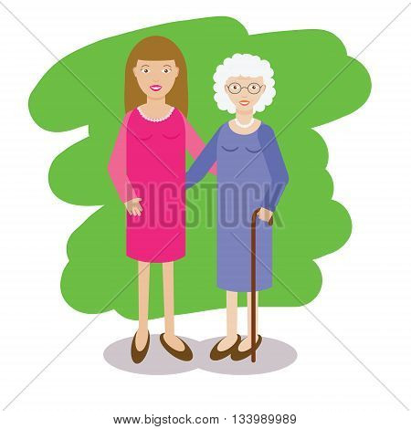 Woman and gray-haired old lady vector illustration. Family theme. Yong woman with grandmother. Grandmother with cane and her granddaughter in flat style