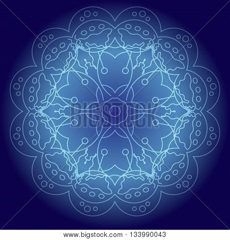 Abstract glowing mandala in blue colors vector illustration. Meditative background design element for flyers covers and etc