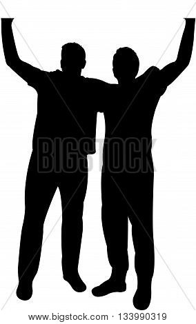 manifestation - two men protesting, silhouette vector