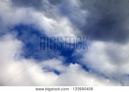 Sky with sunlight clouds before rain. Natural background.
