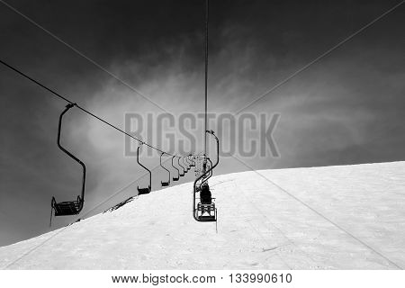 Black And White Old Chair-lift In Ski Resort