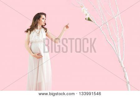 Fantasy image of a pregnant woman