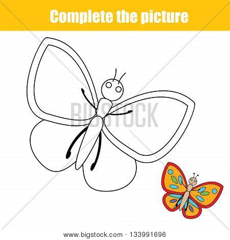 Complete the picture children educational drawing game. Animals theme. Coloring page for kids. Printable vector illustration