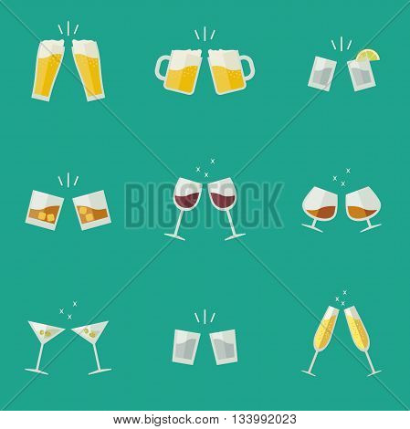 Clink glasses flat icons. Glasses with alcoholic beverages