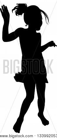 a girl dancing, black color silhouette vector