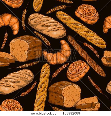 Bread seamless pattern with bakery products french baguette croissant and bun.