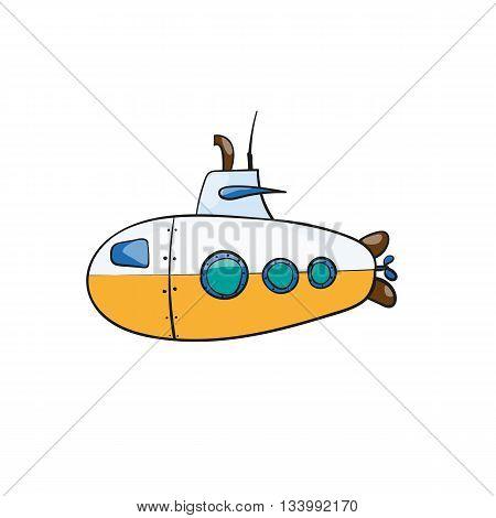vector seamless pattern. Hand drawn water transport. kids toy submarine