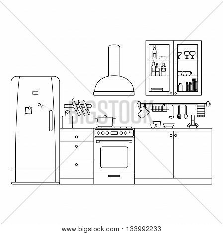 Kitchen line interior with furniture and equipment. Vector thin illustration.