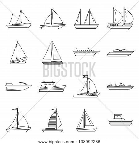 Boat and ship icons set in outline style for any design