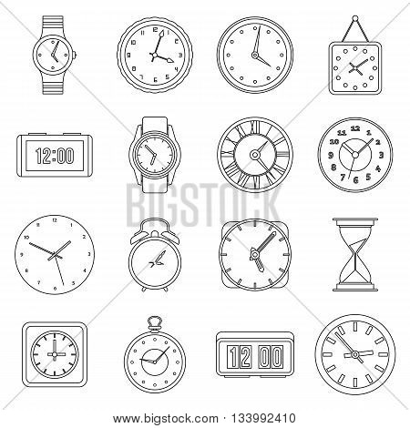 Time and Clock icons set in outline style for any design