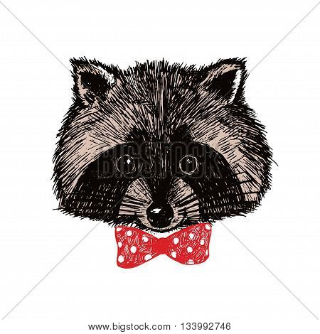 Concept Hand Drawn Cute Raccoon In Bow-tie. Vector Illustration. Design Template For Greeting Cards