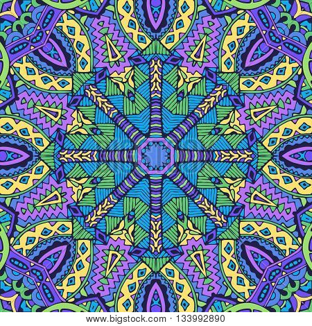 Abstract festive colorful purple mandala vector ethnic tribal pattern
