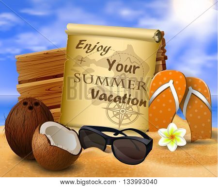 tropical vector background with summer sky and clouds wooden desk old paper coconut flipflops and sunglasses on a sand beach