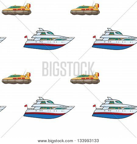 vector seamless pattern. Hand drawn water transport. kids toy yacht, submarine