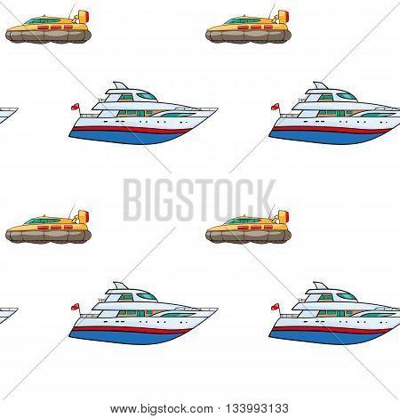 vector seamless pattern. Hand drawn water transport. kids toy yacht, submarine