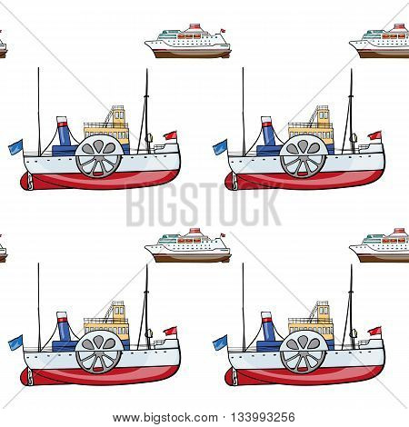 vector seamless pattern. Hand drawn water transport. kids toy steamship, cruise