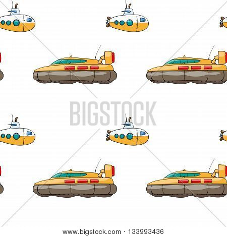 vector seamless pattern. Hand drawn water transport. kids toy hovercraft, submarine