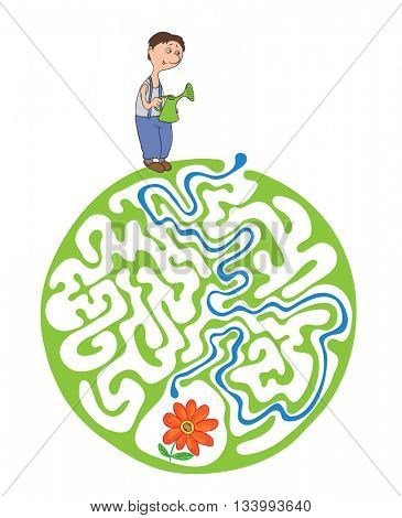 Maze puzzle for kids with gardener and flower. Labyrinth illustration, solution included.